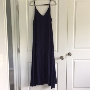 Navy blue maxi with leg slit & open back